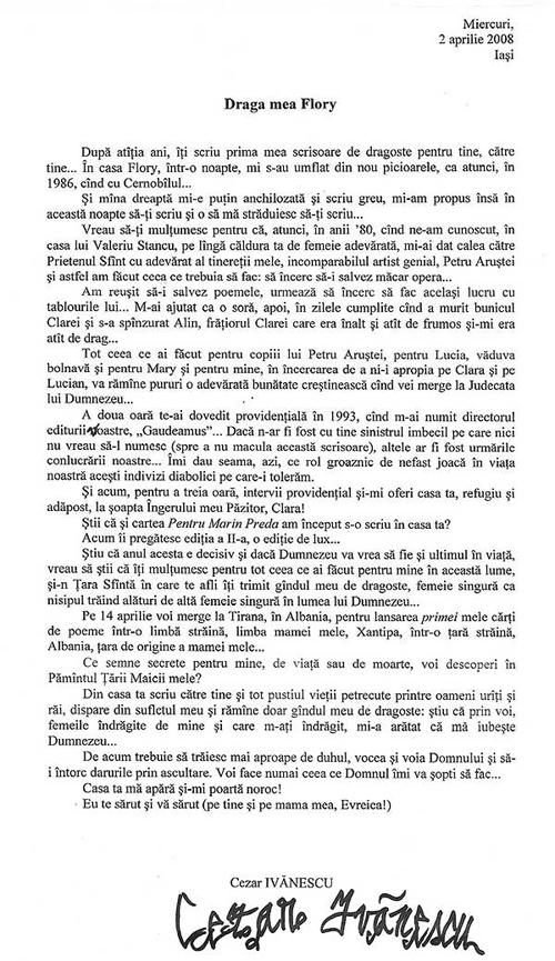 Scrisoarea lui Cezar Ivanescu